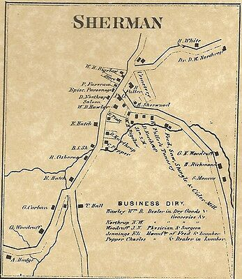 Sherman Lake Candlewood CT 1867  Map with Homeowners Names Shown
