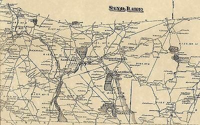West Sand Lake Poestenkill Glass Lake NY 1876 Maps with Homeowners Names Shown