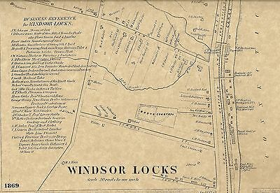 Windsor Locks Bradley Airport CT 1869  Maps with Homeowners Names Shown