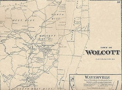 Wolcott Waterville CT 1868 Map with Homeowners Names Shown