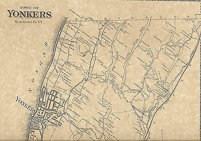 Yonkers Tuckahoe Bronxville Riverdale NY 1867 Map with Homeowners Names Shown