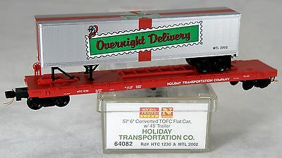 """N Scale 57' 6"""" Converted TOFC Flat Car w/Trailer - Holiday Tranportation - MTL"""