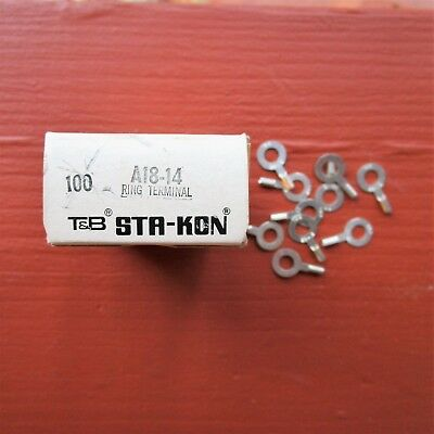 "100 Thomas & Betts A18-14 Sta-Kon 22-16 AWG Ring Connector 1/4"" Bolt New"