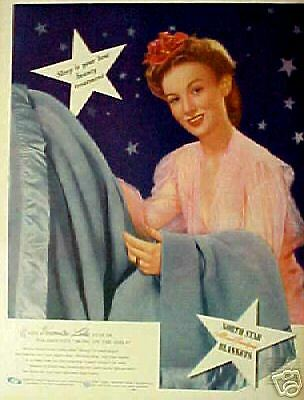 1944 Veronica Lake (Movie Star) North Star Blankets AD