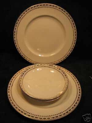 ALFRED MEAKIN - GOLD CROWN - 3 LUNCH PLATE & SAUCERS