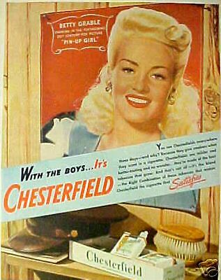 "1944 Betty Grable ""Pin-Up Girl"" Movie Chesterfield Cigarettes Art Print AD"