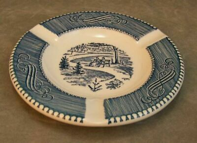 Vintage Royal USA Currier & Ives Blue White Ashtray