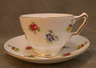 Crown Staffordshire Teacup Saucer England Floral Pansy