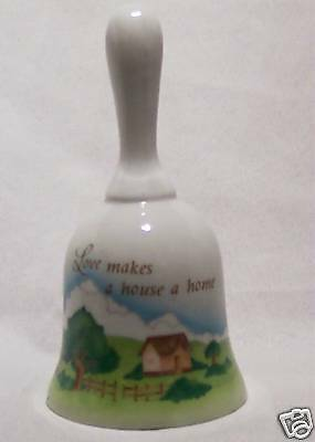"""Bell - Ceramic """"Love makes a house a home"""" w Gold"""