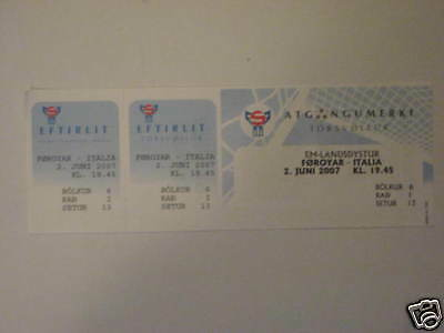 Faroer Islands Italia Italy Biglietto Ticket 2007
