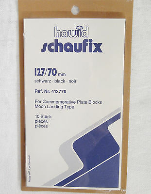 Hawid Black Stamp Mounts 127/70 10 Pieces for Commemorative Plate Blocks  (m35)