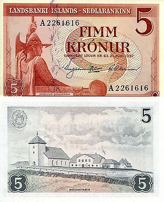ICELAND 5 Kronur Banknote World Money UNC Currency 1957