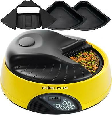 Andrew James Yellow 4 Day / Meal Automatic Pet Feeder Dog Cat Animal Bowl