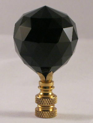 Lamp Finial-Stunning Leaded Crystal Lamp Finial-Black