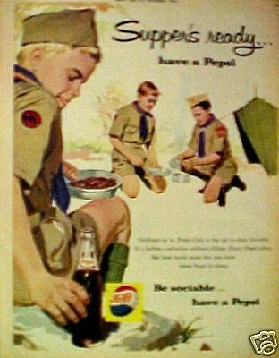 1960 Pepsi-Cola Soda-Pop Boy Scouts Camping Cook-Out Promo AD