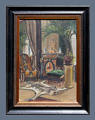 Lovely Vintage Interior Oil Painting On Canvas Board, Signed, Farmed