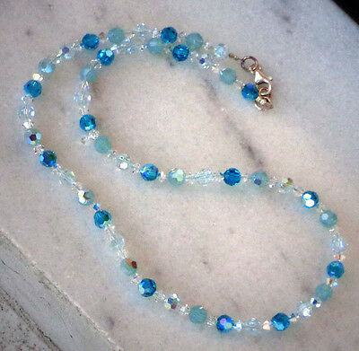 Austrian crystal sparkly blue combination zircon /opal necklace