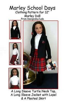 """School Days Doll Clothes Sewing Pattern for 12"""" Marley & 14"""" Patience Tonner"""