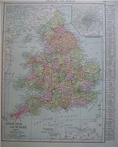 1915 England & Wales  Color Map*  Scotland on back