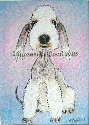 Bedlington Terrier Dog Aceo Print From Original Painting By Suzanne Le Good