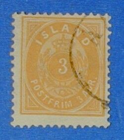 1887 ICELAND 3A DEFIN. STAMP SCOTT# 21 MICHEL#12B USED