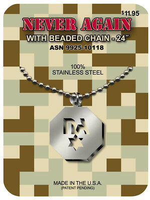 G.I. JEWELRY, Official U.S. Military, NEVER AGAIN Necklace