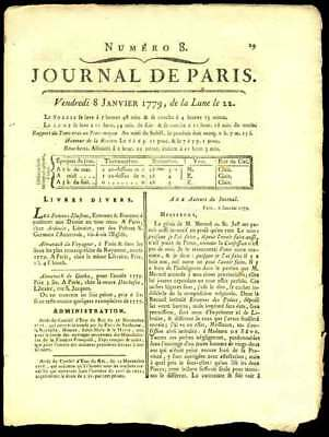 JOURNAL de PARIS AMERICAN REVOLUTIONARY PERIOD 1779
