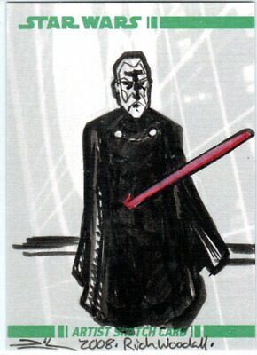 Star Wars Topps Clone Wars Movie Woodall Color Sketch