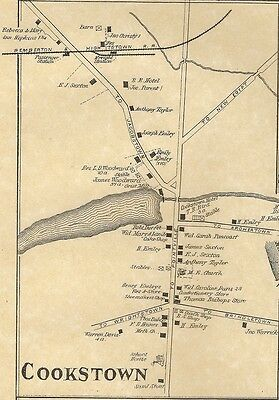 Cookstown Jacobstown Wrightstown Fort Dix  NJ 1876 Maps Homeowners Names Shown