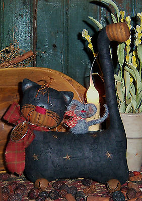 Primitive Kitty Cat Doll w/ Mouse Ornie Paper Pattern #340