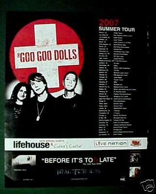 Goo Goo Dolls Rock Music Memorabilia Album,Cd Concert Tour Promo Print Trade  Ad