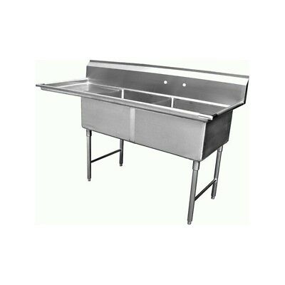 """2 Compartment Sink with 1 Left 18"""" Drain Board NSF"""