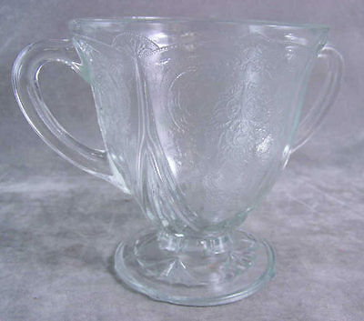 Vintage Depression Glassware Hazel-Atlas Royal Lace Open Sugar Bowl Crystal EXC