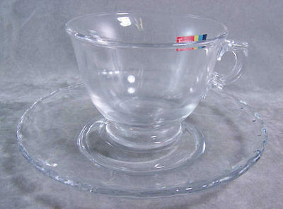 Fostoria Century Footer Crystal Cup and Saucer Lovely A