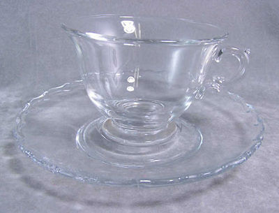 Fostoria Century Footer Crystal Cup and Saucer Lovely