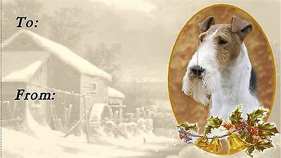 Fox Terrier (Wire) Christmas Labels by Starprint - No 2