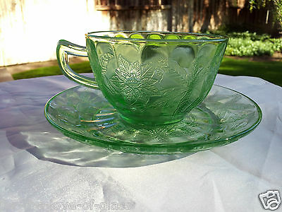 Green Floral Poinsettia Cup & Saucer