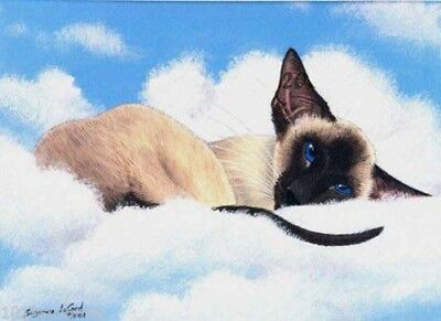 Limted Edit Siamese Cat Clouds Print From Original Painting By Suzanne Le Good