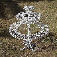 ANTIQUE Rotating Three Tier Wrought Iron Flower Stand