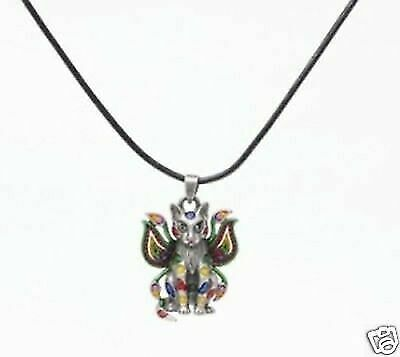 New Carrie Hawks Rainbow Paisley Cat Fairy Necklace