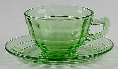 Green Block Optic Cup & Saucer Pointed Handle