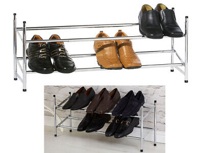 New 2 Tier Chrome Shoe Rack Stackable & Extendable Shoes Storage Organiser Stand