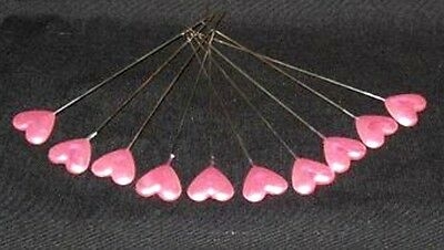 10 Pink Pearl Heart Lapel Pins For Corsage's,  Etc
