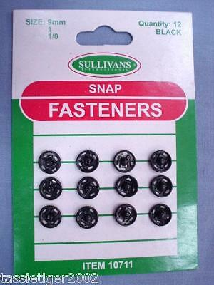 9mm Black Snap Fasteners