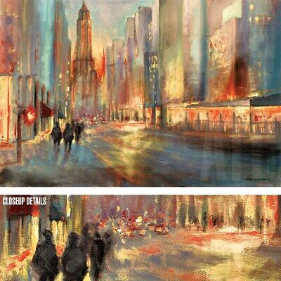 "36W""x24H"" END OF THE DAY by JOHN ALLINSON - CITYSCAPE STREET LANDSCAPE CANVAS"