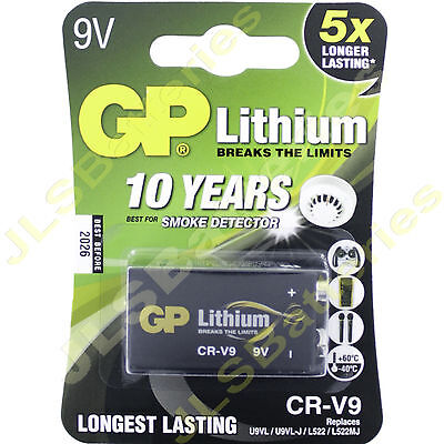 LITHIUM 9V Battery GP CR-V9 U9VL U9VL-J L522 PP3 MN1604