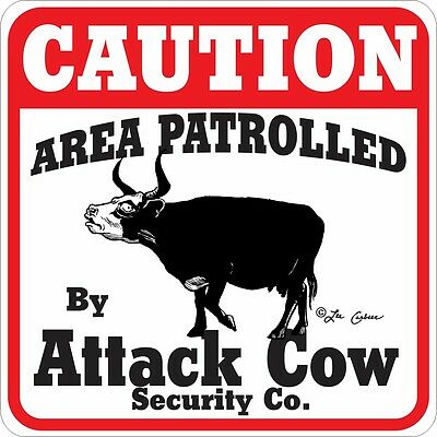 Caution Attack Cow Sign