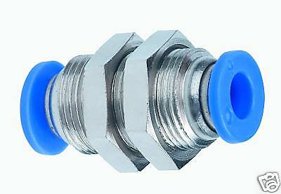 """1pc One Touch Push In Fitting Bulkhead Union 1/4"""" OD Tubing MettleAir MTM1/4"""
