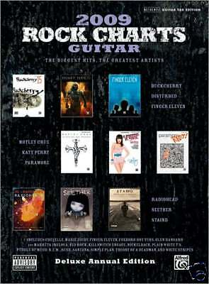 ROCK CHARTS 2009 Authentic Guitar Tab & Voice Sheet Music Book