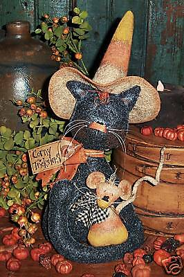 Primitive Witch Cat Halloween Mouse Doll Paper Pattern #484